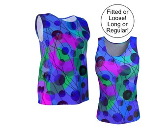 Geometric Tank Top, Loose or Fitted Womens Top, XS S M L XL Sleeveless, Long, Stretchy Jersey Knit, Summer Fashion, Blue Green Pink Circles