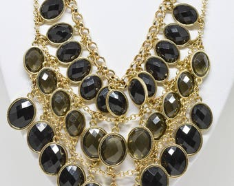 Stunning multi beads gold tone necklace
