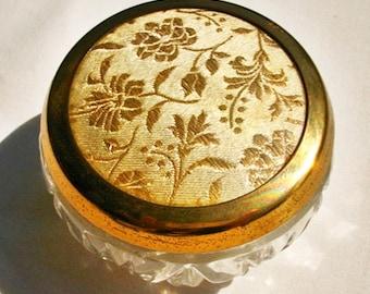 Vintage glass trinket pot with embroidered lid