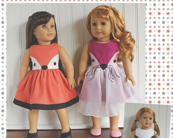 "18"" Doll clothes pattern Fiona Fox Doll Dress sewing Pattern  Avery Lane Designs 18 inch size doll PDF"