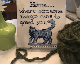 Home is where..cat  trivet  COPYRIGHT