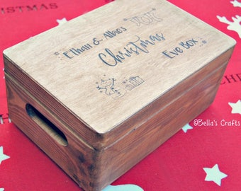 Wooden Christmas Eve Box, Personalised Christmas Eve Box, Xmas Eve Box, Wooden Box, Santa, Father Christmas, Gift Box