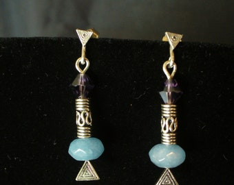 Sterling, Crystal, and Quartz Post earings