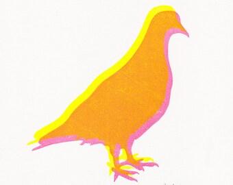 Pigeon print, pigeon linocut print, pigeons art, small block print, small pigeon block print, pigeon wood block print, pigeon gifts prints