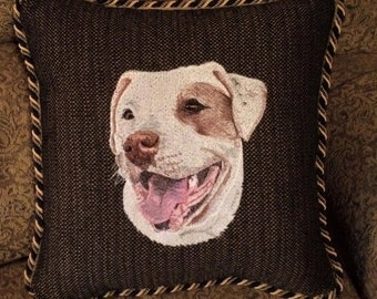 Made to Order, Custom Embroidered Pet Portrait Pillow