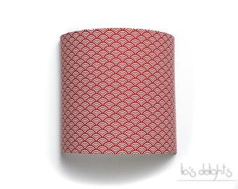 """Applique murale """"Vagues"""" rouge 20cm , japonisant, géométrique, abat jour, abatjour"""