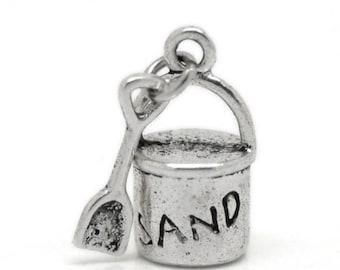 8 Bucket Spade Sand Beach Antique Silver Charms 8mm x 15mm (604)