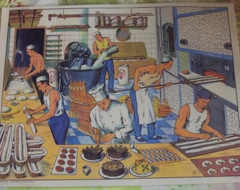Wall decor, Set of Table 42 x 30 cm poster old school Baker, pastry, pastry, bakery, wand vintage