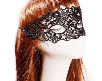 SALE quality black floral lace mask - modern halloween face wear - queen art deco gothic vamp party mask - sexy eye mask