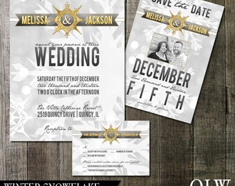 Snowflake Winter Wedding Invitation and RSVP Cards DIY Digital Printable Wedding Set Gold and Silver Snowflakes Bokeh Christmas Winter