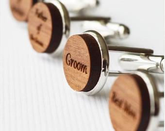 Men Cufflinks -Personalized Walnut Cufflinks -  Birch Custom Cufflinks - 5th Anniversary Cufflinks - Wedding Cufflinks