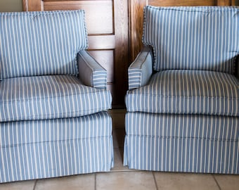 Blue And White Striped Chair   Reupholstered Vintage Chair