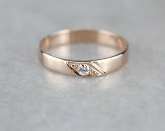Vintage Diamond Rose Gold Wedding Band 3YVYAD