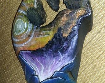 Energy Volcano; Acrylic Painting + wood burning on wood; Original Design