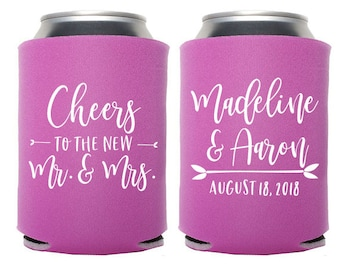 Custom Wedding Favor - Cheers to the New Mr. and Mrs. Can Cooler