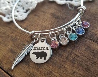 mama bear bracelet, personalized gift for mom, mother birthstone bracelet, mama bear bangle bracelet, build your own bracelet