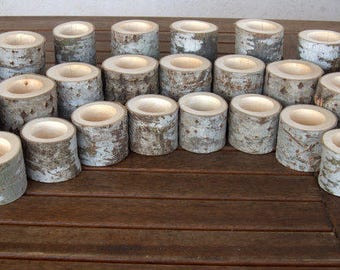 10 Set of 3 Wood Candle Holders - Table Centerpiece -  Wood Log Holders - White Tree Candle Holders - Wedding Decoration - Home Decoration