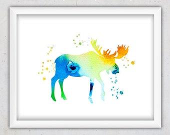 Moose Wall Art, Woodlands Print, Nursery Print, Watercolor Abstract Print, Kids Art Print, Modern Print, Animal Print, Digital Art Print