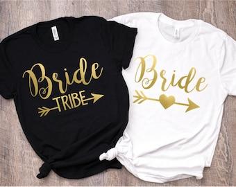Bachelorette Party Shirts/ Bridal Party Shirts/ Bachelorette Shirts/ Bride Tribe/ Bride Tribe Tanks/ Gold/ Bride Shirt/ Bridesmaid Gift