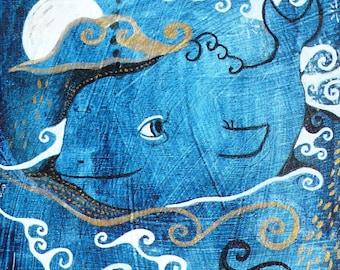 Midnight Whale - Miniature Painting on Wood