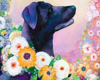 Lab Love - Vivd Modern Fine Art Pet Portrait Dog Print by Jenlo