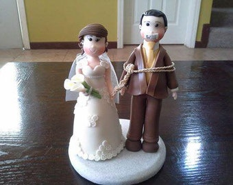 Humor Brown Suit Groom and Bride Clay Wedding Cake Topper