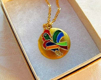 Rooster Locket, Oval Pendant, Working Locket, Gift for Her