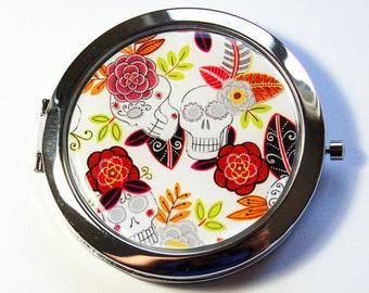 Sugar Skull Mirror, Pocket mirror, compact mirror, Sugar Skulls, mirror, purse mirror, Day of the Dead Mirror, Day of the Dead  (2910)