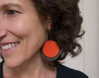 Leather Circle Earrings - Game Day Wear - Gift for Women Under 25 - Fan Football Gear - Spirit Wear - Lightweight Earrings - Dangle Earrings