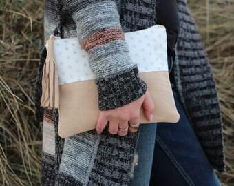 Beige leather clutch bag, leather clutch, Clutch purse, Evening bag, Foldover clutch, Women