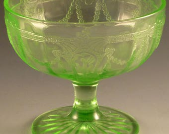 Cameo Ballerina Green Depression Glass Sherbet Footed Low Molded Dancing Girl Hocking Glassware Vintage Authentic Excellent Condition