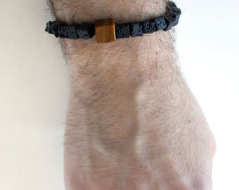 Square lava bead men's unisex beaded bracelet (stretchy), inspired by Iceland