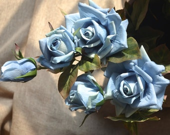 Pale Blue Roses Spray Real Touch Flowers DIY Wedding Bouquets Centerpieces, 3 blooms/stem