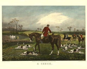 """Horse  Fox Hunting Dogs Hounds """"A Check""""  Art Poster Repro FREE SHIPPING in USA"""