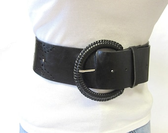 Wide Black Belt With Peek A Boo Cutouts Size Large