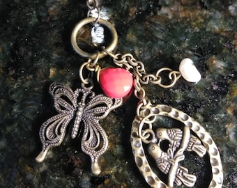 Bronze Charm Necklace with Bronze Chain (Butterfly,birds, pearl and red charm)