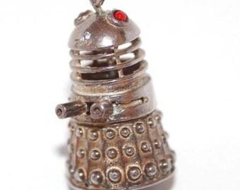 Rare Vintage Sterling Silver Bracelet Charm 1960s Moving Dr WHO Dalek Robot