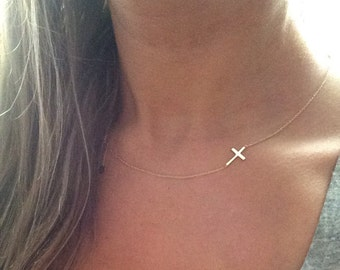14k solid gold sideways cross necklace minimalist necklace 14k gold necklace cross necklace