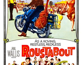 """Elvis Presley - Roustabout - Home Theater Media Room Decor -  Elvis Movie Poster Print - 13""""x19"""" or 24""""x36"""" - Rock and Roll Poster print"""