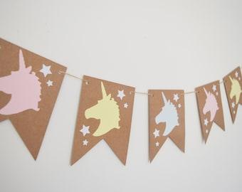 Pink Unicorn Bunting, Princess Fairy Tale Birthday, Girls Childrens Party Decoration Banner, First 1st Birthday, Nursery Decor, Kids Bedroom