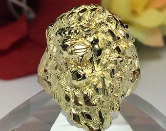 BIG 10k solid gold Lion ring