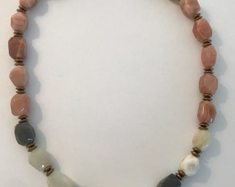Faceted Rainbow Moonstone and Gold Hematite Necklace