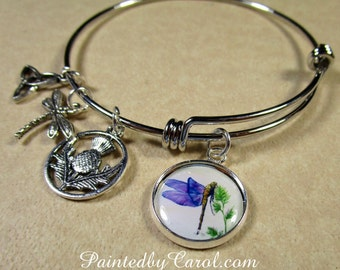 Dragonfly Bangle, Dragonfly Bracelet, Dragonfly Jewelry, Dragonfly Expand It, Dragonfly Gifts, Outlander Fan Gifts, Outlander Fan Bracelet