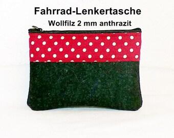 Wool Felt - bicycle bag anthracite, handlebars
