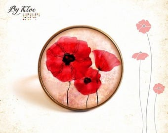 Poppies • fun • red glass flower Cabochon ring
