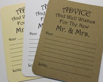 Lot de 20 conseils carte - carte de mariage - mariage Conseils mariage douche - douche nuptiale - mariée et marié M. & Mme carte de souhait