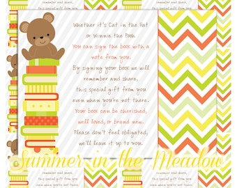 Bring a Book Cards, Book Request Cards, Gender Neutral Baby Shower, Teddy Bear, Please bring a book instead of a card, Poem, Printable