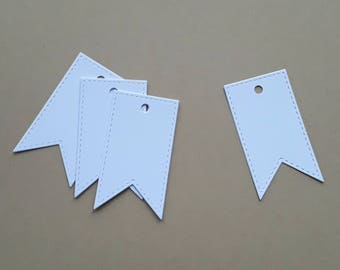 Set of 10 flag, flag, marriage, mark places 3.6 x 6.4 cm white paper