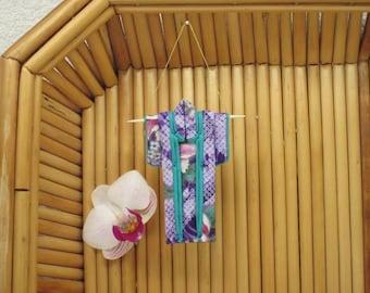 "Tiny Ornament ""Purple Shibori."" Fabric Origami Kimono: Handmade Purple Pink Teal White Peony, Faux Shibori Dots. Hang it, Frame it, Give it."