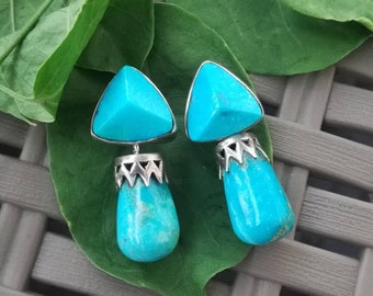 Turquoise Earrings, Arizona Turquoise, 925 Silver Earrings, Sterling Silver Earrings, Blue Gemstone Earrings, Blue Stone Earrings
